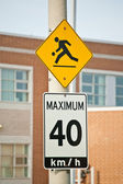 Children at Play and Maximum 40 km/h Signs — Stock Photo