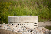 Stormwater Management System - Perforated Concrete Pipe — Stock Photo