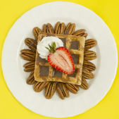 Chocolate Waffle With Strawberry and Nuts — Stock Photo