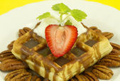 Nut Strawberry Waffle Front View — Stock Photo