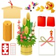 Japanese New Year's icons — Stock Vector