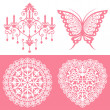 Stock Vector: Lace ornaments set