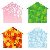 House four-seasons — Stock Vector