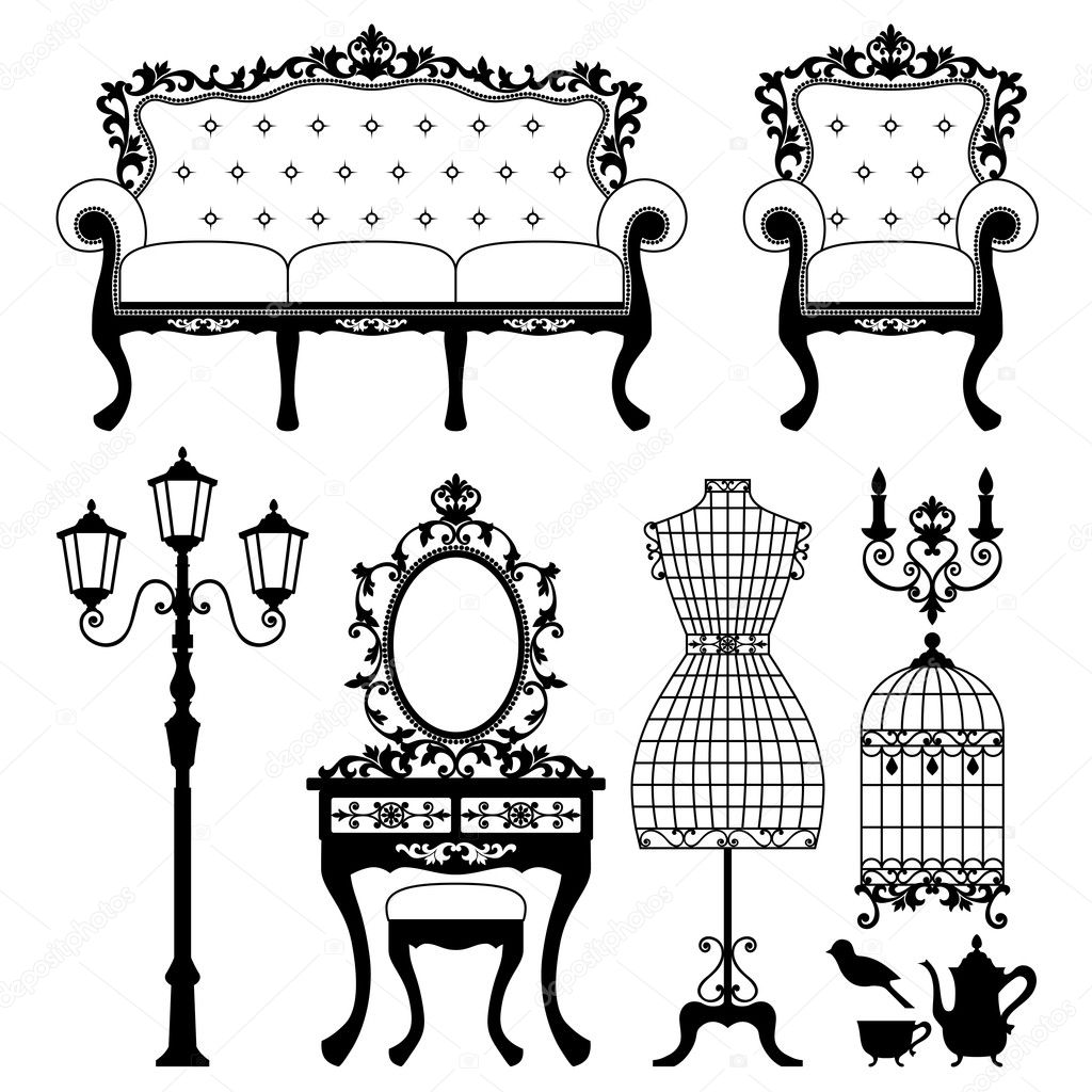 Antique decorative furniture. Vector illustration. — Imagens vectoriais em stock #3971423