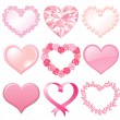 Set of pink hearts - Stock Photo