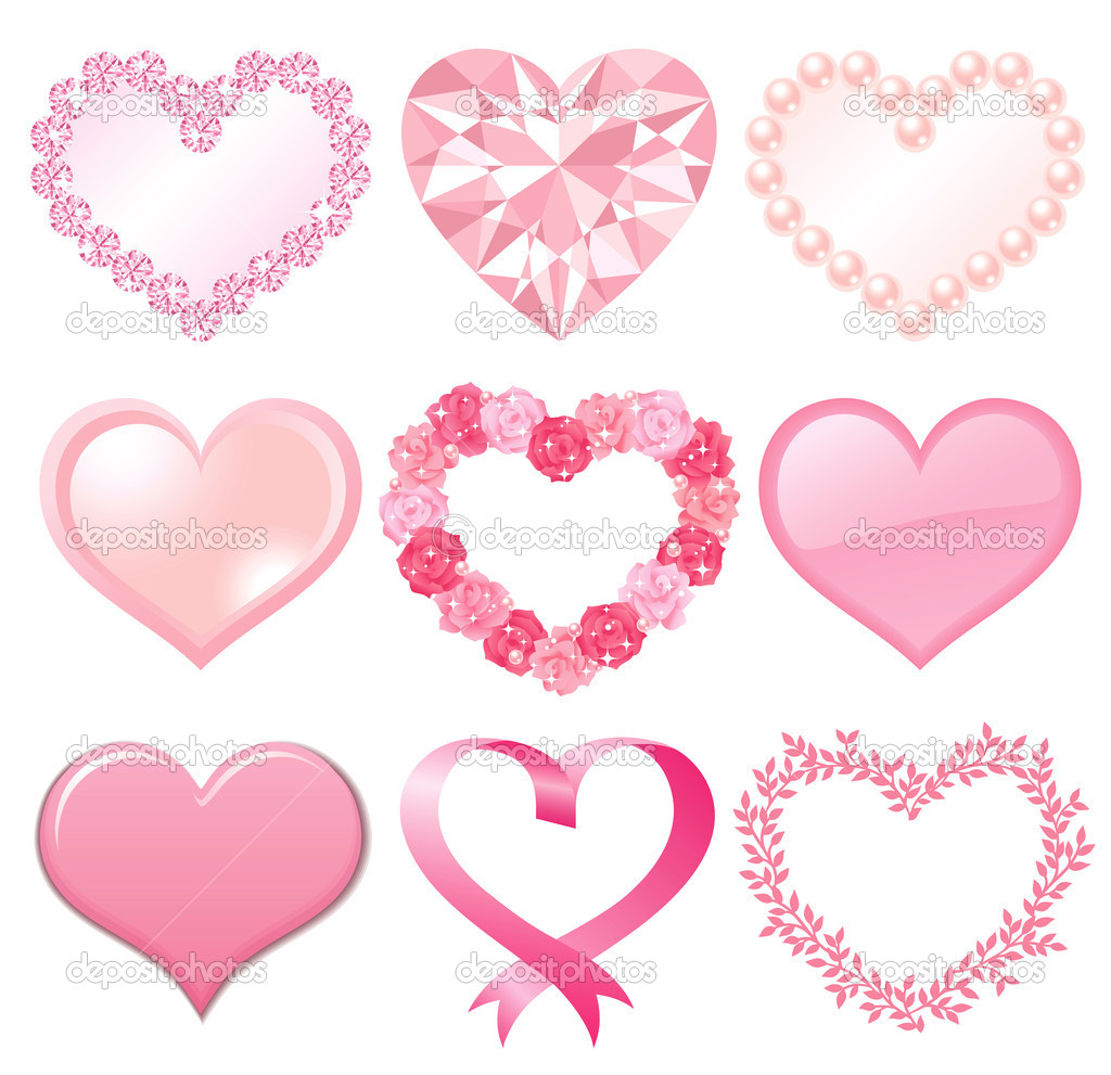 Set of pink heart decorations.  Vector illustration.  Stock Photo #4632739