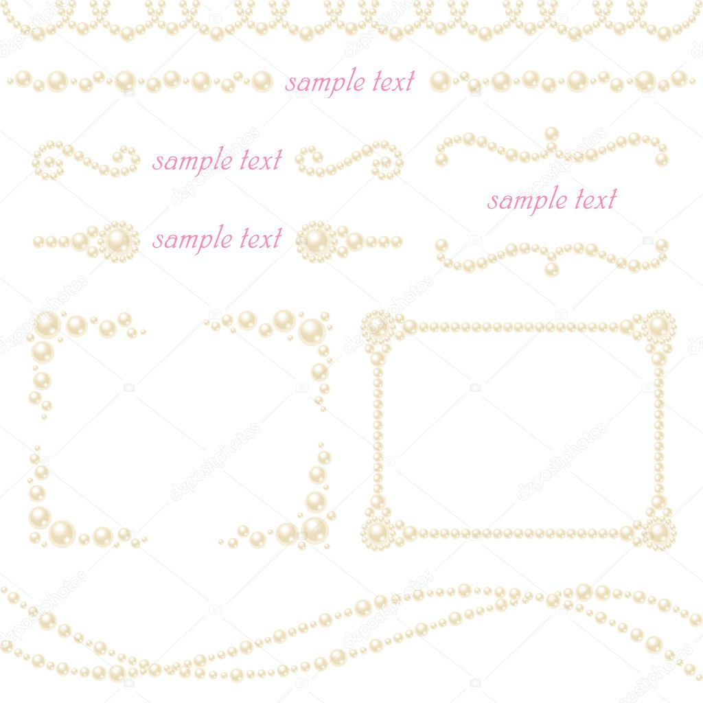 Set of decorative pearls.  Vector illustration.  Stock Photo #4715041