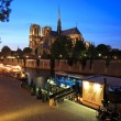 Notre Dame de Paris at night,  France - Stock Photo
