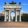 Arch of Peace in Sempione Park, Milan, Italy — Foto Stock