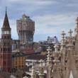 Velasca tower from Duomo roof, Milan — Stock Photo