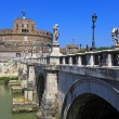 Stock Photo: Sant Angelo Castle and Bridge in Rome, Italia.