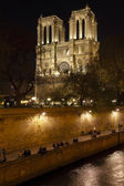 Embankment of Seine River and Notre Dame de Paris at night — Stock Photo