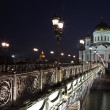 The Cathedral of Christ the Savior and the Patriarchal bridge, M — Foto de Stock