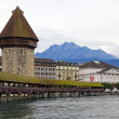 Chapel bridge in Luzerne, Switzerland - Stock Photo