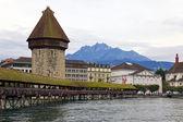 Chapel bridge in Luzerne, Switzerland — Stock Photo