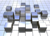 Abstract metal cubes — Stock Photo