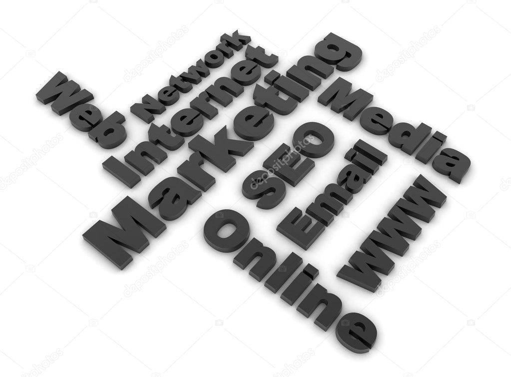 Internet marketing related words - black — Foto Stock #3988764