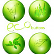 Stock Vector: Eco green buttons