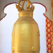 The big golden bell in Buddha temple — Stock Photo