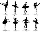 Collection of ballerinas with reflection silhouette - vector — Stock Vector