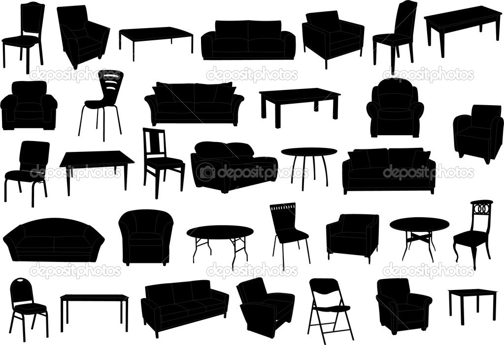 Furniture collection silhouette - vector — Stock Vector #3980833
