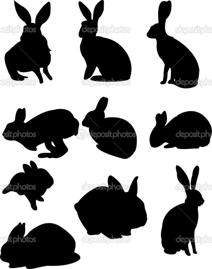 Jumping Rabbit Silhouette Rabbit - stock illustration
