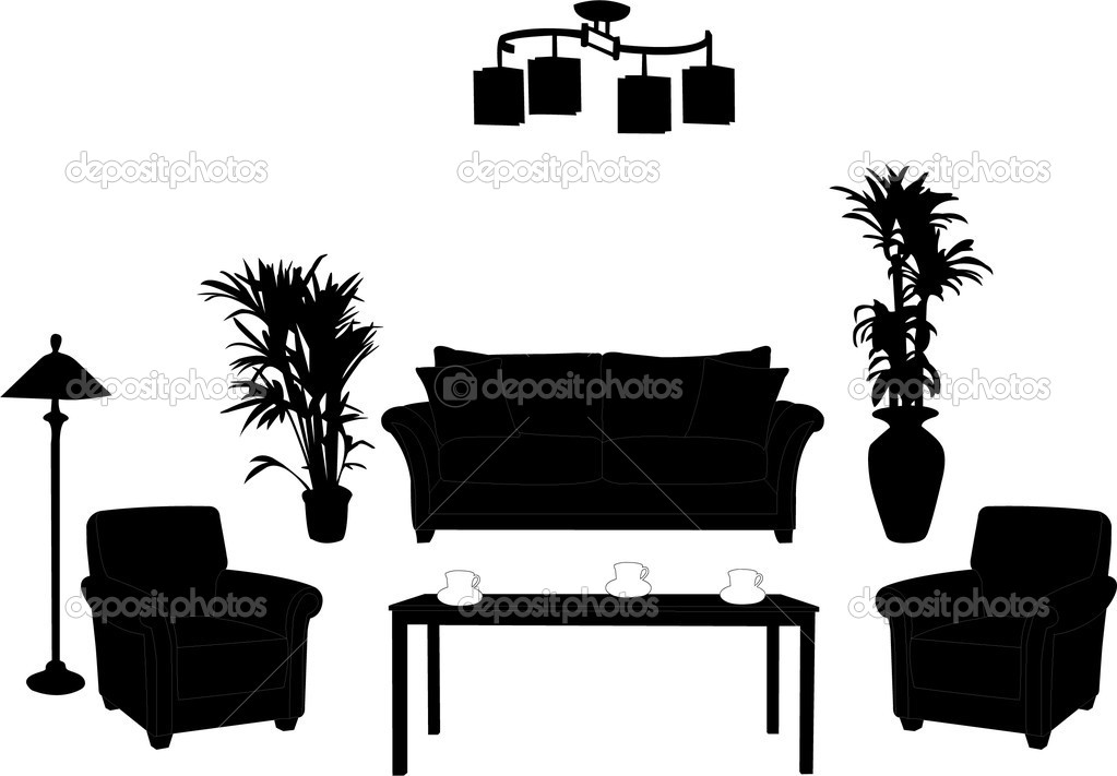 Living room design silhouette - vector — Stock Vector #4017486