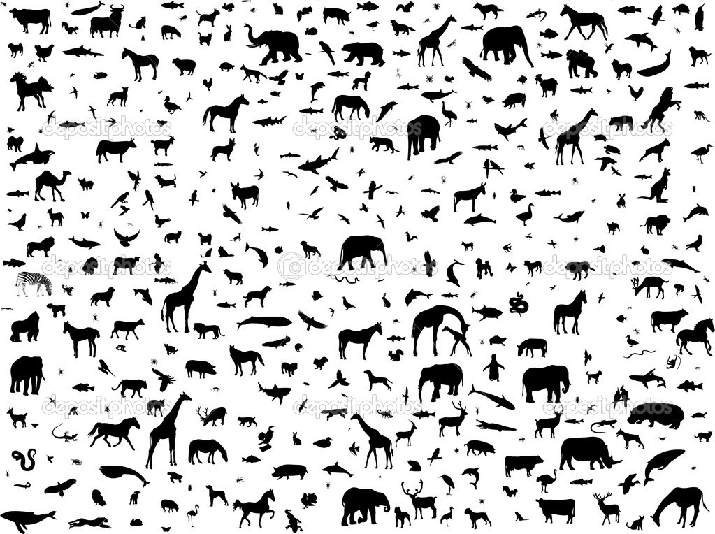 Animals mix collection silhouette - vector — Stock Vector #4051385