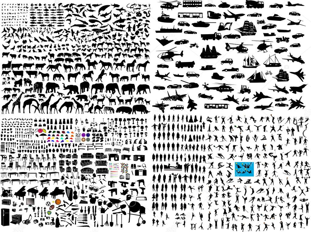 Hundreds mix silhouette - vector  Grafika wektorowa #4411426