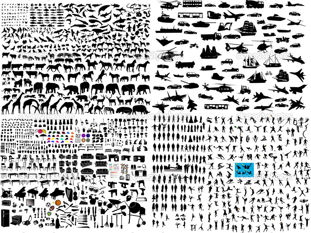 Hundreds mix silhouette - vector — Image vectorielle #4411426