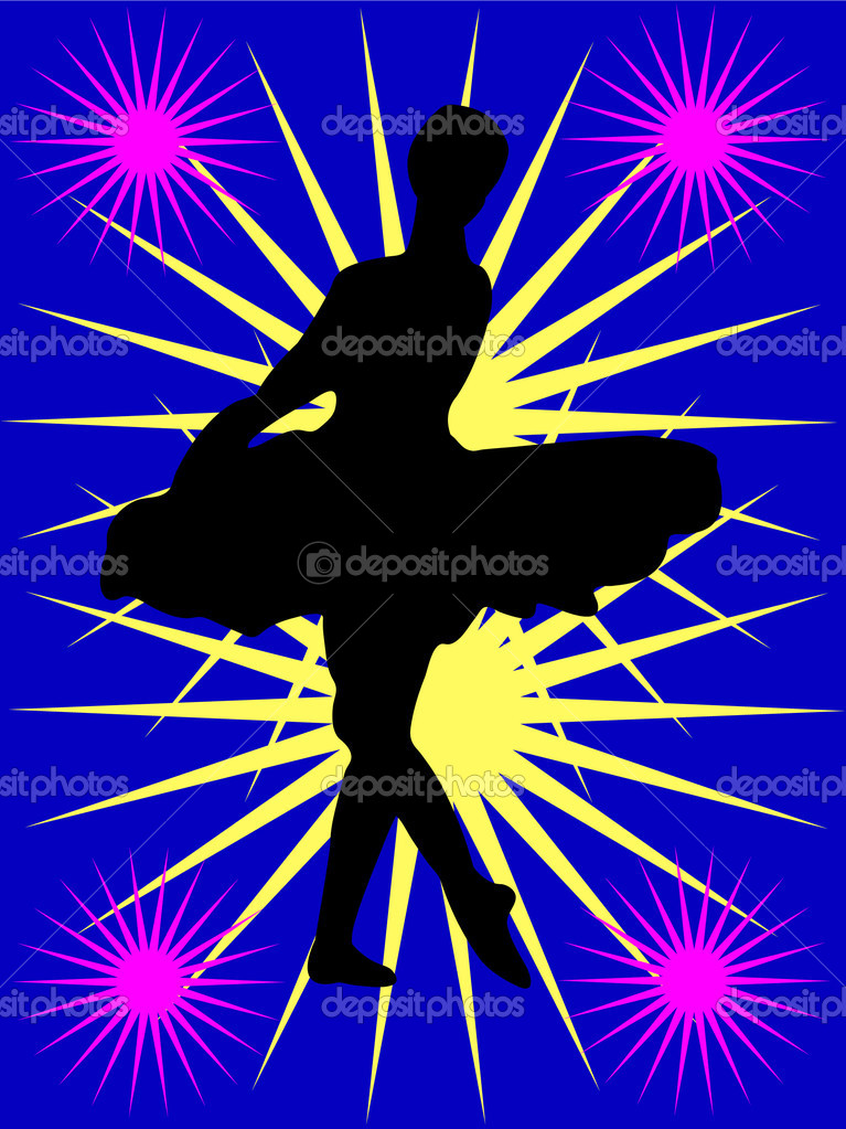 Ballerina with background - vector  Stock Vector #4606641
