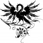 Firebird, phoenix bird with flower-ornaments in background — Stock Vector