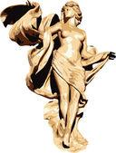 Nike illustration on decorative Greek frame — Stock Vector