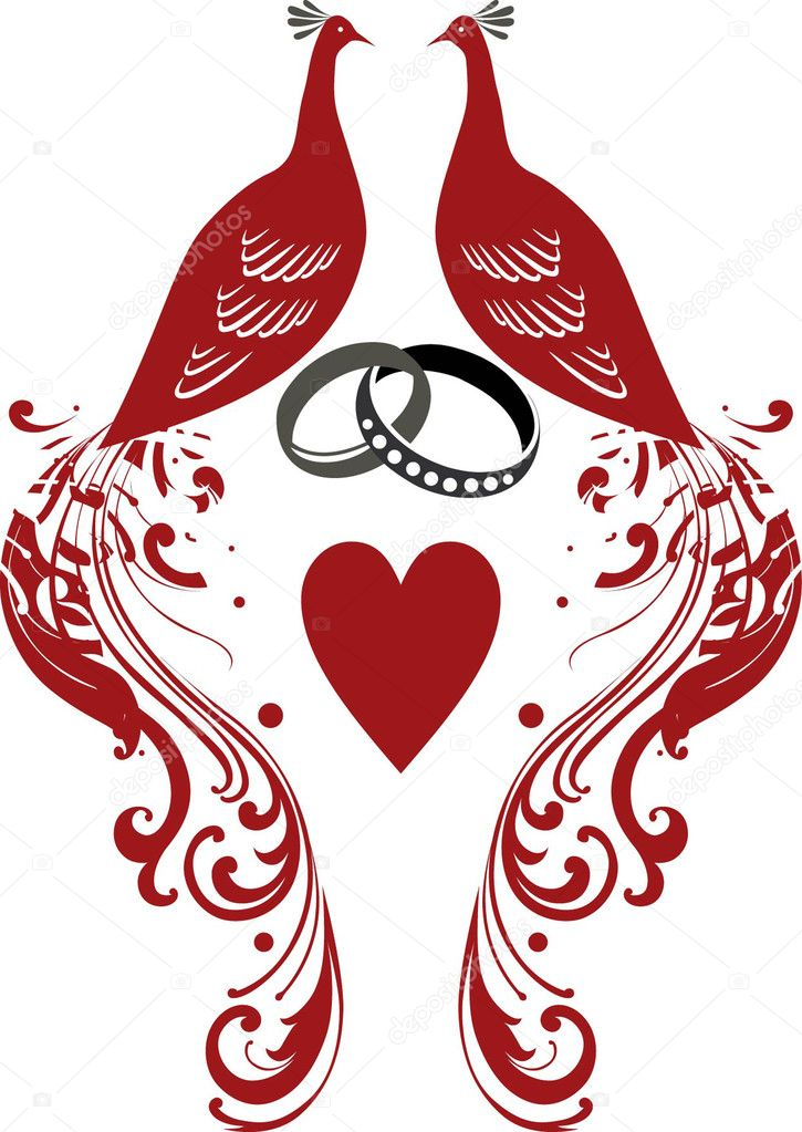 Ring, heart, wedding, peacock — Stock Vector #5130855