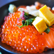salmon and salmon eggs donburi, japanese food — Stock Photo