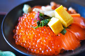 Salmon and Salmon eggs Donburi, Japanese food — Stockfoto