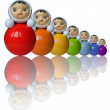Seven rainbow colored roly-poly toys with reflection (isolated) — Stok fotoğraf