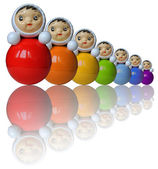 Seven rainbow colored roly-poly toys with reflection (isolated) — Stock Photo