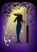 Woman-in-rain mirage (vector) — Stock Vector