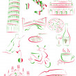 Italian sights and symbols — Stock Vector