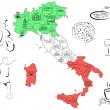 Stock Vector: Map of Italy with sights by regions