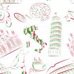 Italian sights and symbols seamless. — Stock Vector