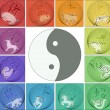 Royalty-Free Stock Vector Image: Chinese horoscope around yin yang
