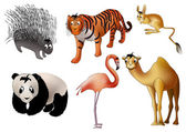 Asian animals (vector) — Stok Vektör