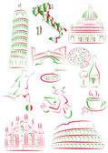 Italian sights and symbols — Stock Vector