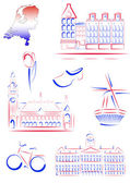 Netherlands sights and symbols — Stock Vector
