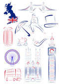 Great Britain sights and symbols — Stok Vektör