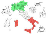 Map of Italy with sights by regions — 图库矢量图片