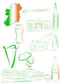 Ireland sights and symbols — Stock Vector