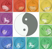 Chinese horoscope around yin yang — 图库矢量图片